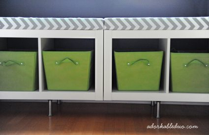 diy toy storage bench for nursery - adorkableduo.com