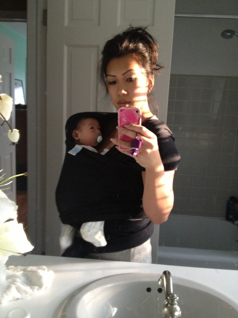baby wearing with the moby wrap
