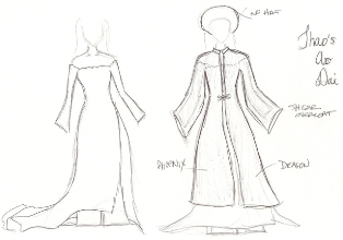 Sketch of Ao Dai design for the bride