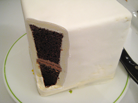 inside the top of our cake with chinese double happiness