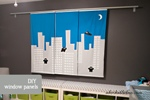 diy hand painted window panels with ninja and cityscape for nursery decor - adorkableduo.com