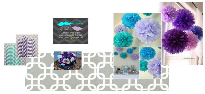 style board designed to plan the gender reveal party