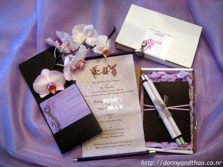 Finished DIY invitation; lavender, scroll, chocolate