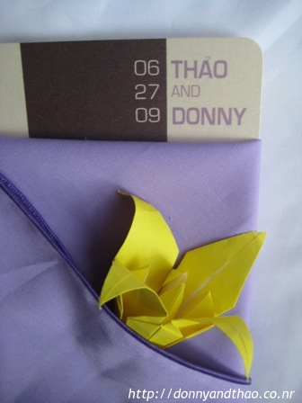 Finished diy origami lily in napkin